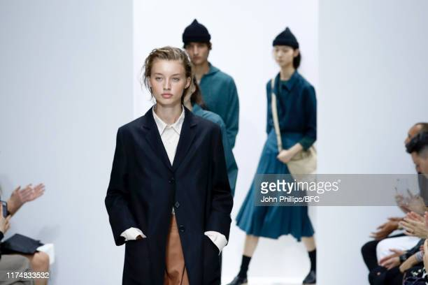 Models walk the runway at the Margaret Howell show during London Fashion Week September 2019 at Rambert on September 15, 2019 in London, England.