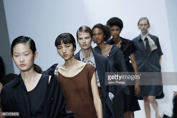 Models walk the runway at the Margaret Howell show during London Fashion Week Spring/Summer collections 2017 on September 18 2016 in London United...