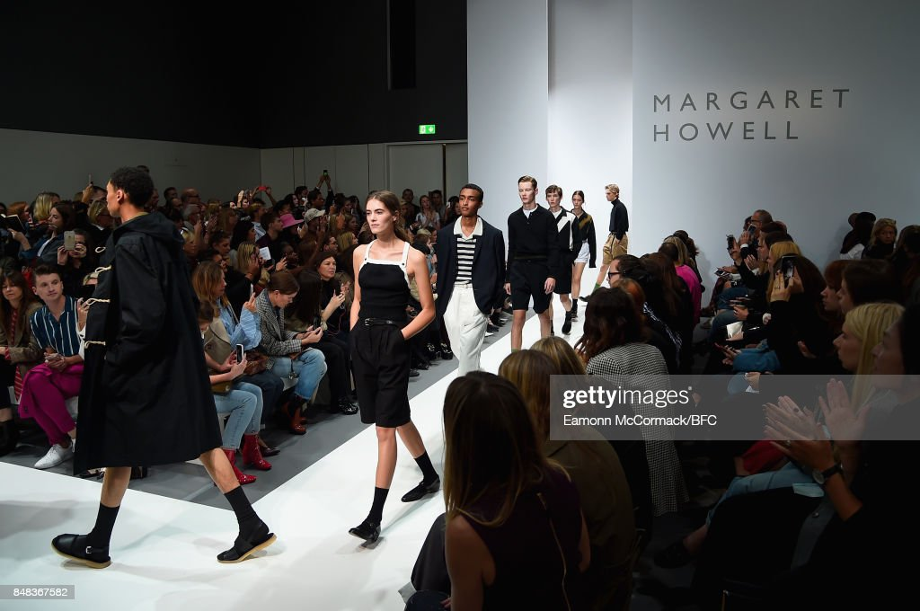 Models walk the runway at the Margaret Howell show during London Fashion Week September 2017 on September 17, 2017 in London, England.