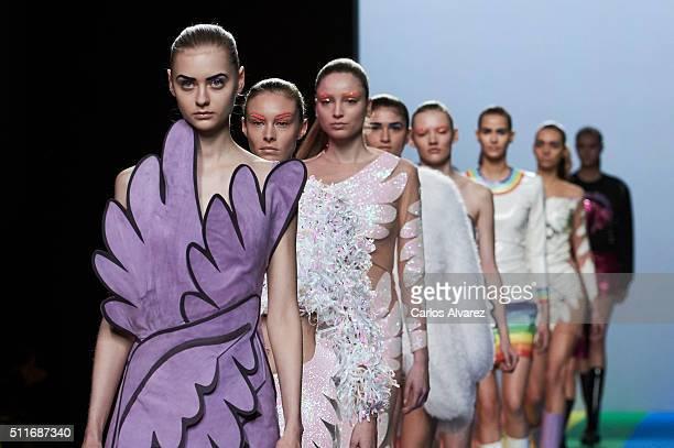 Models walk the runway at the Maria Escote show during the MercedesBenz Madrid Fashion Week Autumn/Winter 2016/2017 at Ifema on February 22 2016 in...
