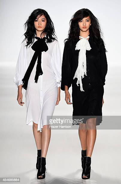 Models walk the runway at the Mark And Estel fashion show during Mercedes-Benz Fashion Week Spring 2015 at The Salon at Lincoln Center on September...