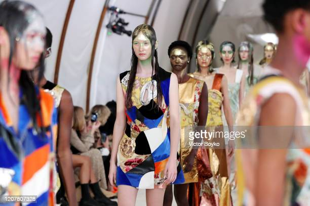 Models walk the runway at the Marni fashion show during Milan Fashion Week Fall/Winter 2020/2021 on February 21 2020 in Milan Italy
