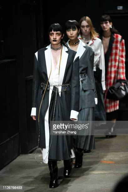 Models walk the runway at the Marni show at Milan Fashion Week Autumn/Winter 2019/20 on February 22 2019 in Milan Italy