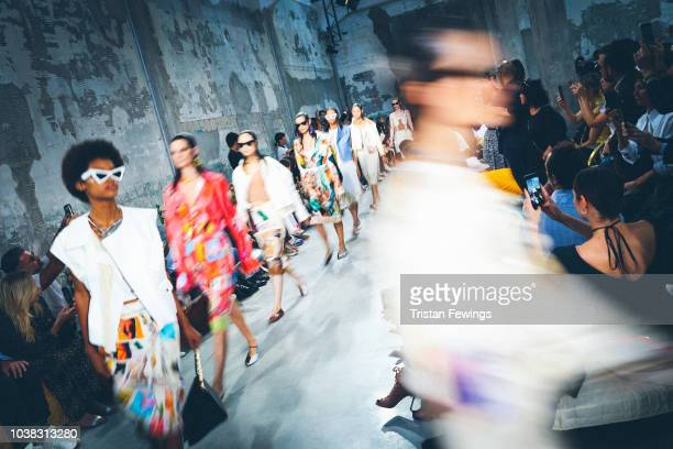 Models walk the runway at the Marni show during Milan Fashion Week Spring/Summer 2019 on September 23 2018 in Milan Italy