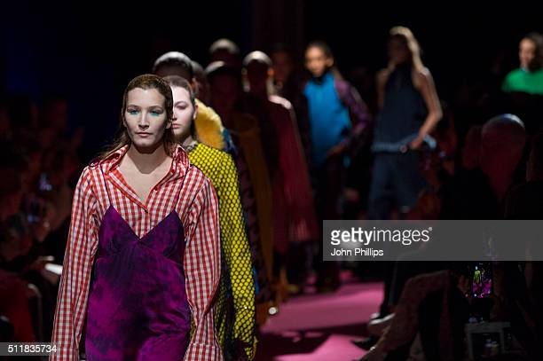 Models walk the runway at the Marques'Almeida show during London Fashion Week Autumn/Winter 2016/17 at Olympia West on February 23 2016 in London...