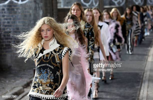 Models walk the runway at the Marques'Almeida show during London Fashion Week September 2017 on September 18 2017 in London England