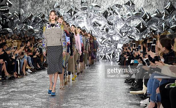 Models walk the runway at the Mary Katrantzou show during London Fashion Week Autumn/Winter 2016/17 at Central Saint Martins on February 21 2016 in...