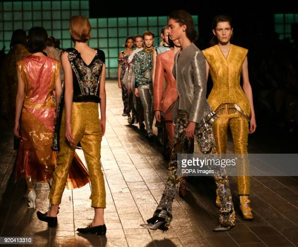 Models walk the runway at the Mary Katrantzou show during London Fashion Week February 2018 at BFC Show Space