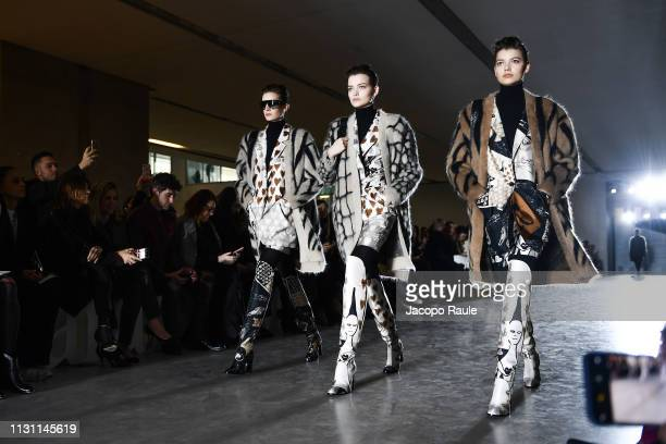 Models walk the runway at the Max Mara show at Milan Fashion Week Autumn/Winter 2019/20 on February 21, 2019 in Milan, Italy.