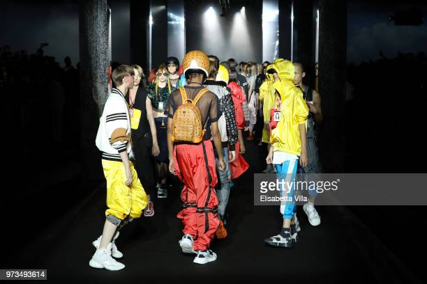 Models walk the runway at the MCM Fashion Show Spring/Summer 2019 during the 94th Pitti Immagine Uomo on June 13 2018 in Florence Italy