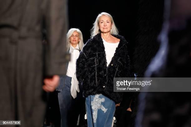 Models walk the runway at the Miaoran show during Milan Men's Fashion Week Fall/Winter 2018/19 on January 13 2018 in Milan Italy