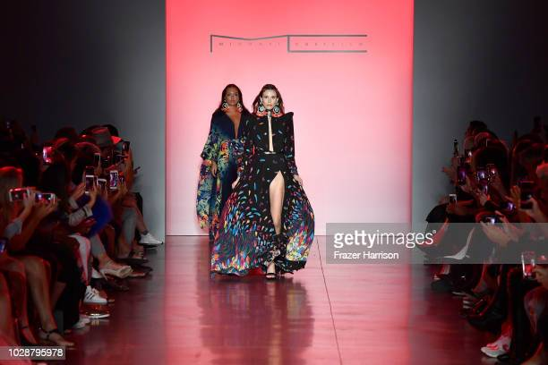 Models walk the runway at the Michael Costello show during New York Fashion Week The Shows at Gallery II at Spring Studios on September 7 2018 in New...