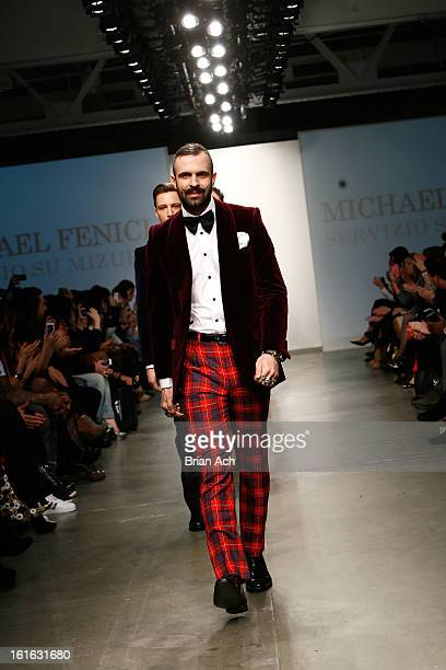 Models walk the runway at the Michael Fenici show during Nolcha Fashion Week New York 2013 presented by RUSK at Pier 59 Studios on February 13, 2013...