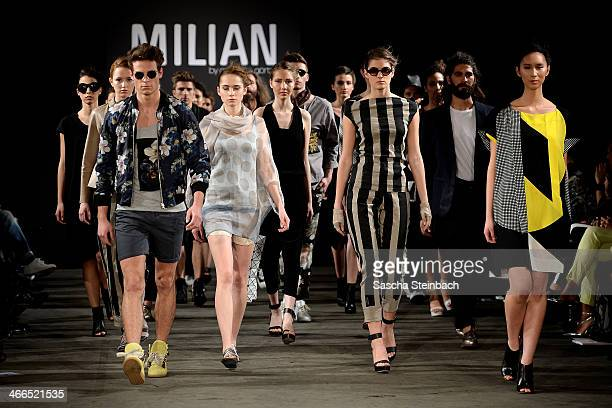 08b7f3d72b4dbc Models walk the runway at the Milian by Annette Goertz show during Platform  Fashion Dusseldorf on