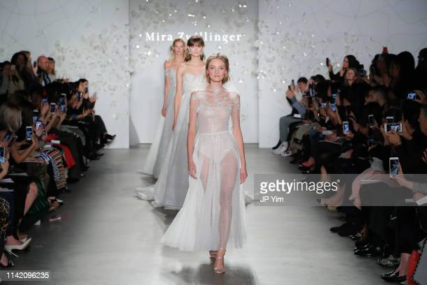 Models walk the runway at the Mira Zwillinger 2020 Collection during NYFW Bridal on April 11, 2019 in New York City.