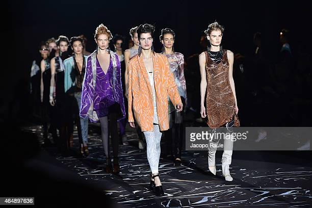 Models walk the runway at the Missoni show during the Milan Fashion Week Autumn/Winter 2015 on March 1 2015 in Milan Italy
