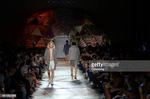 Models walk the runway at the Missoni Spring Summer 2015 fashion show during Milan Menswear Fashion Week on June 22 2014 in Milan Italy
