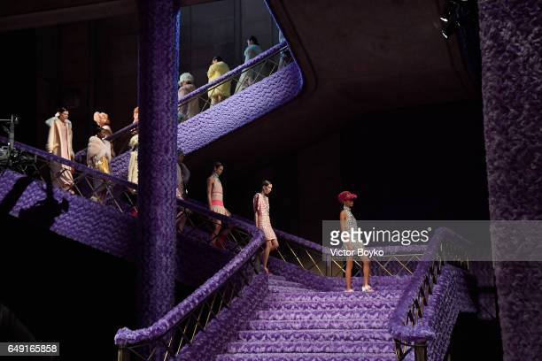 Models walk the runway at the Miu Miu show as part of the Paris Fashion Week Womenswear Fall/Winter 2017/2018 on March 7 2017 in Paris France