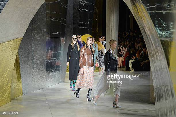 Models walk the runway at the Miu Miu Spring Summer 2016 fashion show during Paris Fashion Week on October 7 2015 in Paris France