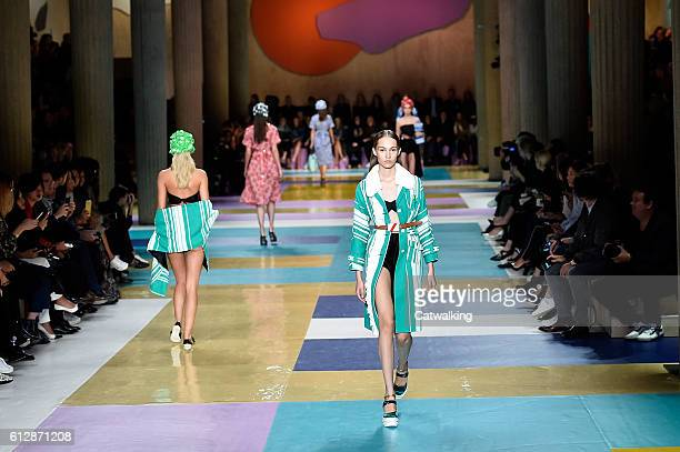 Models walk the runway at the Miu Miu Spring Summer 2017 fashion show during Paris Fashion Week on October 5 2016 in Paris France