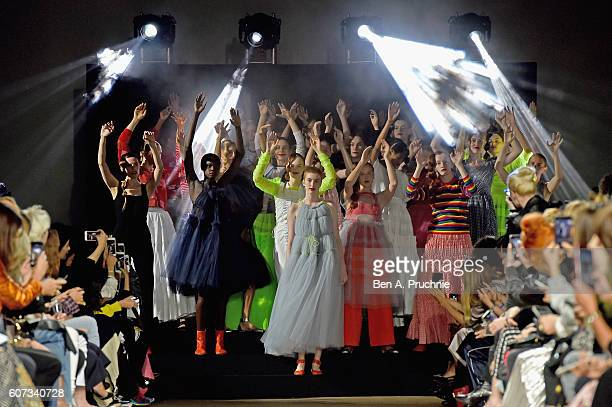 Models walk the runway at the Molly Goddard show during London Fashion Week Spring/Summer collections 2017 on September 17 2016 in London United...