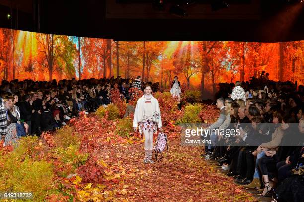 Models walk the runway at the Moncler Gamme Rouge Autumn Winter 2017 fashion show during Paris Fashion Week on March 7, 2017 in Paris, France.