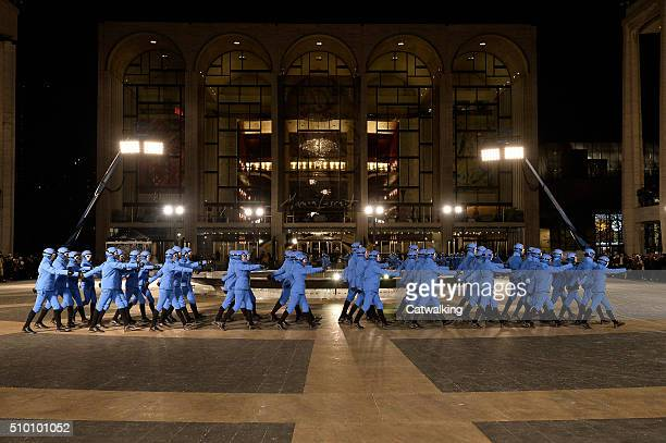 Models walk the runway at the Moncler Grenoble Autumn Winter 2016 fashion show during New York Fashion Week on February 13 2016 in New York United...