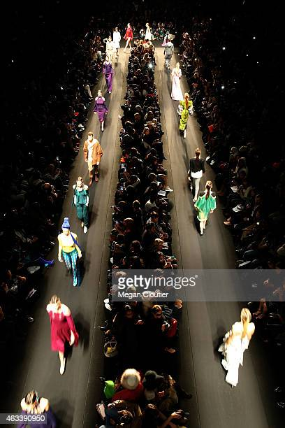 Models walk the runway at the Mongol fashion show during Mercedes-Benz Fashion Week Fall 2015 on February 13, 2015 in New York City.