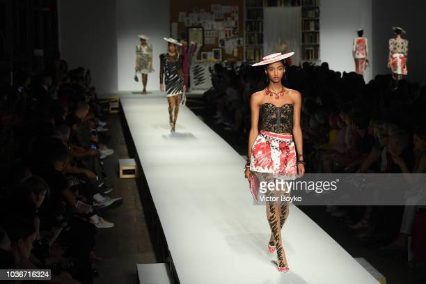 Models walk the runway at the Moschino show during Milan Fashion Week Spring/Summer 2019 on September 20 2018 in Milan Italy
