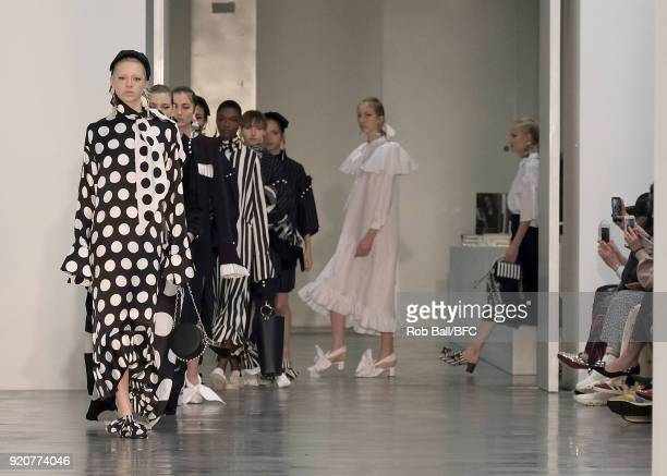 Models walk the runway at the Mother of Pearl show during London Fashion Week February 2018 at Newport Street Gallery on February 19 2018 in London...