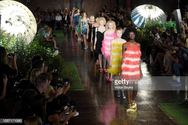 A model walks the runway at the MSGM show during Milan Fashion Week Spring/Summer 2019 on September 21 2018 in Milan Italy
