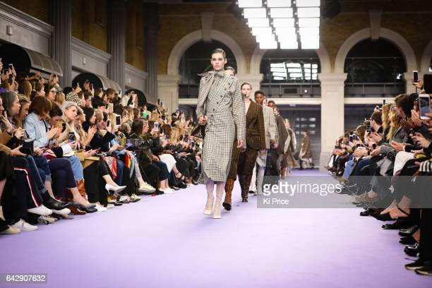 Models walk the runway at the Mulberry show during the London Fashion Week February 2017 collections on February 19, 2017 in London, England.