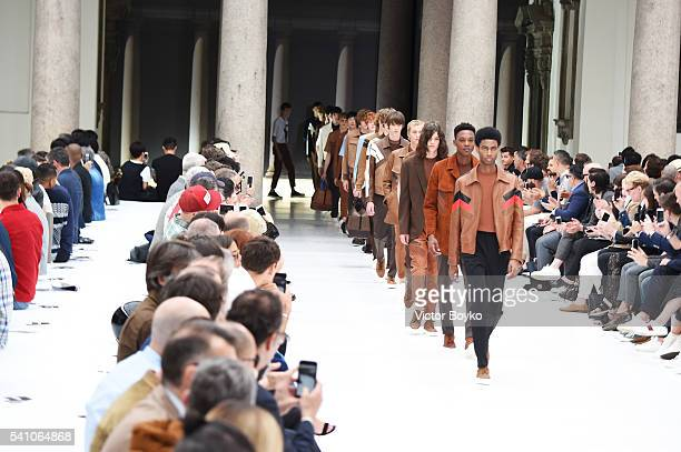 Models walk the runway at the Neil Barrett show during Milan Men's Fashion Week Spring/Summer 2017 on June 18 2016 in Milan Italy