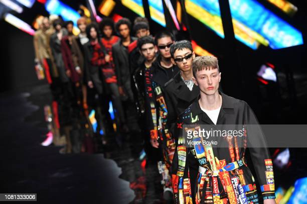 Models walk the runway at the Neil Barrett show during Milan Menswear Fashion Week Autumn/Winter 2019/20 on January 12 2019 in Milan Italy