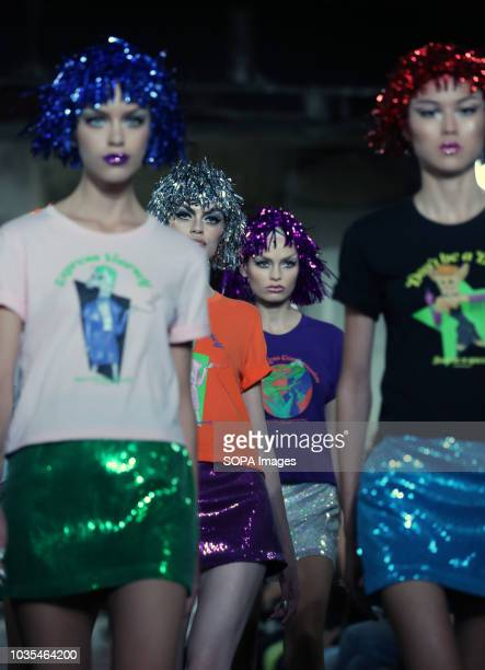 Models walk the runway at the NICOPANDA show during London Fashion Week September 2018 at The BFC Show Space. NICOPANDA is the personal brand of...