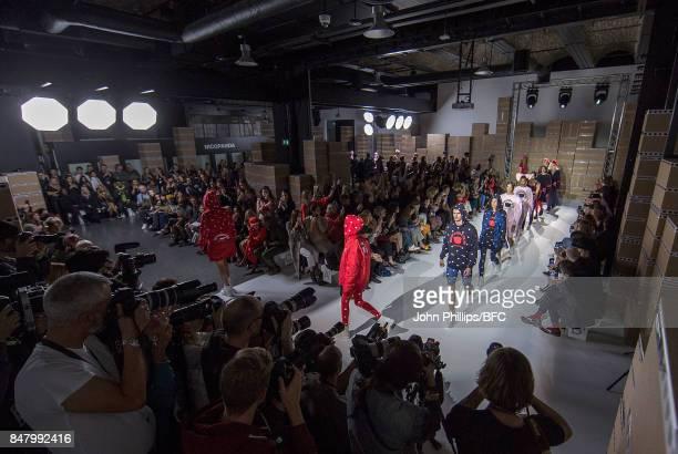 Models walk the runway at the Nicopanda show during London Fashion Week September 2017 on September 16, 2017 in London, England.