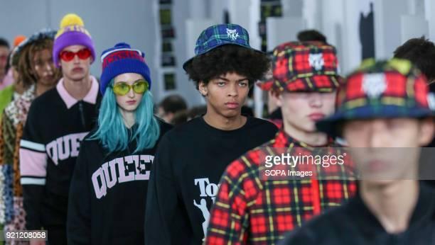 Models walk the runway at the Nicopanda show during London Fashion Week February 2018 at BFC Show Space.