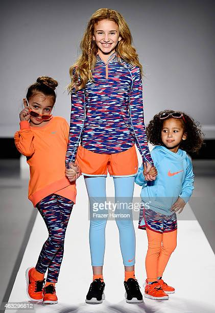 Models walk the runway at the Nike Levi's Kids fashion show during Mercedes-Benz Fashion Week Fall 2015 at The Salon at Lincoln Center on February...