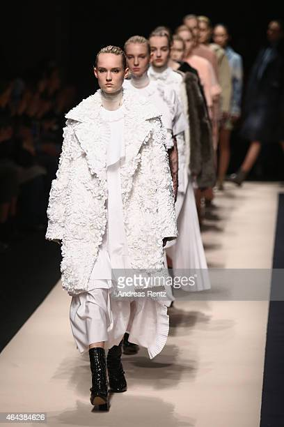 Models walk the runway at the No21 show during the Milan Fashion Week Autumn/Winter 2015 on February 25, 2015 in Milan, Italy.