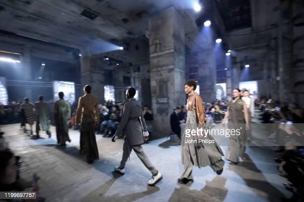 Models walk the runway at the Nobi Talai show during Berlin Fashion Week Autumn/Winter 2020 at Kraftwerk Mitte on January 15 2020 in Berlin Germany