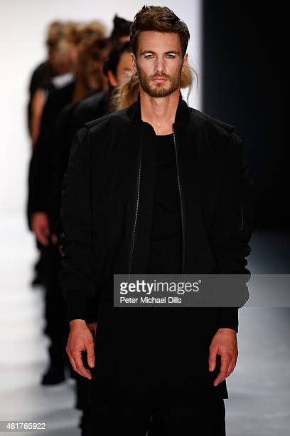 Models walk the runway at the Odeur show during the MercedesBenz Fashion Week Berlin Autumn/Winter 2015/16 at Brandenburg Gate on January 19 2015 in...
