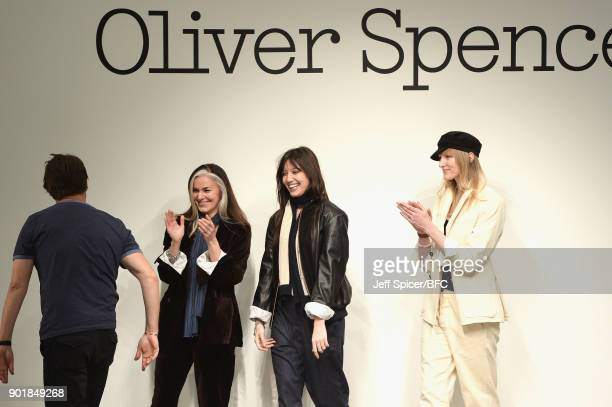 Models walk the runway at the Oliver Spencer show during London Fashion Week Men's January 2018 at BFC Show Space on January 6 2018 in London England