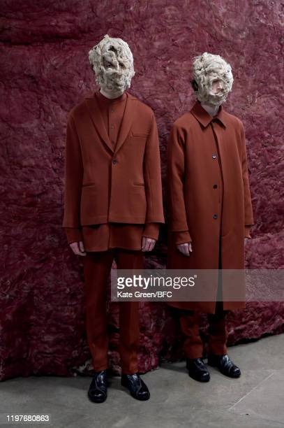 Models walk the runway at the Omar Afridi Presentation during London Fashion Week Men's January 2020 at the Dray Walk Gallery on January 05 2020 in...