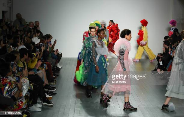Models walk the runway at the On Off Presents show during London Fashion Week February 2019 at the BFC show space on February 19 2019 in London...