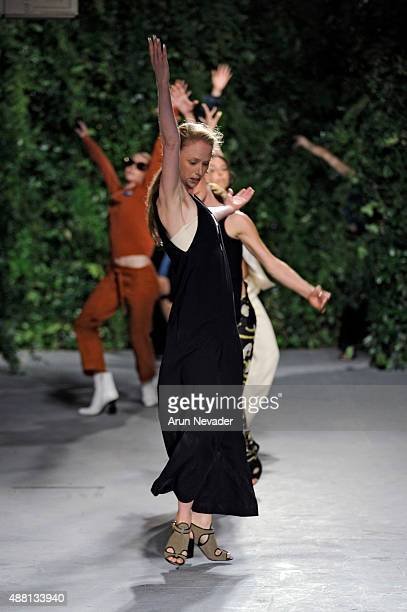 Models walk the runway at the Opening Ceremony Spring 2016 fashion show during New York Fashion Week at 25 Wall Street on September 13 2015 in New...