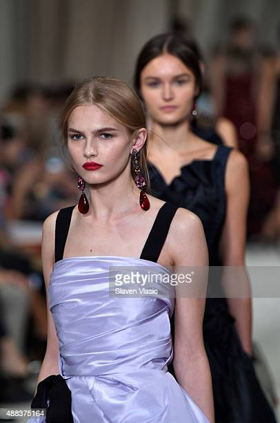 Models walk the runway at the Oscar De La Renta Spring 2016 fashion show during New York Fashion Week on September 15 2015 in New York City