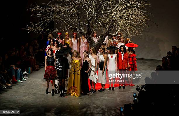 Models walk the runway at the OSMAN show during London Fashion Week Spring/Summer 2016/17 on September 21 2015 in London England
