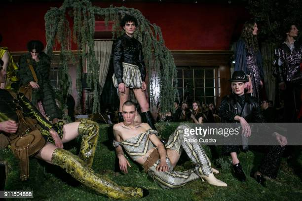 Models walk the runway at the Palomo Spain show during the MercedesBenz Madrid Fashion Week Autumn/Winter 2018 at Ifema on January 28 2018 in Madrid...