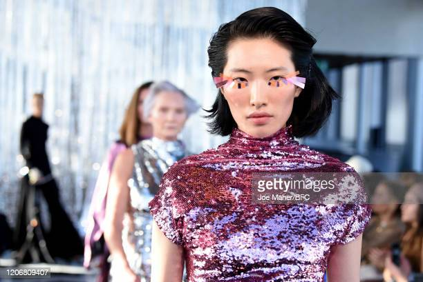 Models walk the runway at the Paula Knorr show during London Fashion Week February 2020 on February 17, 2020 in London, England.