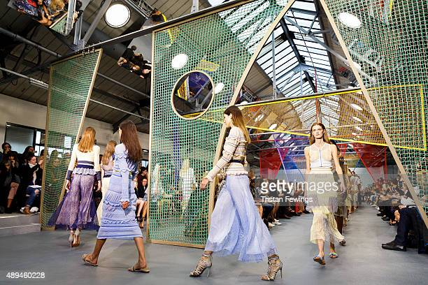 Models walk the runway at the Peter Pilotto show during London Fashion Week Spring/Summer 2016 on September 21, 2015 in London, England.
